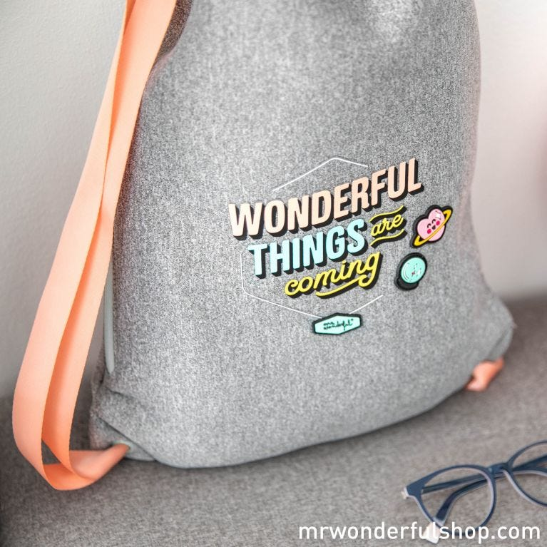 Mochila saco pequeña - Wonderful things are coming
