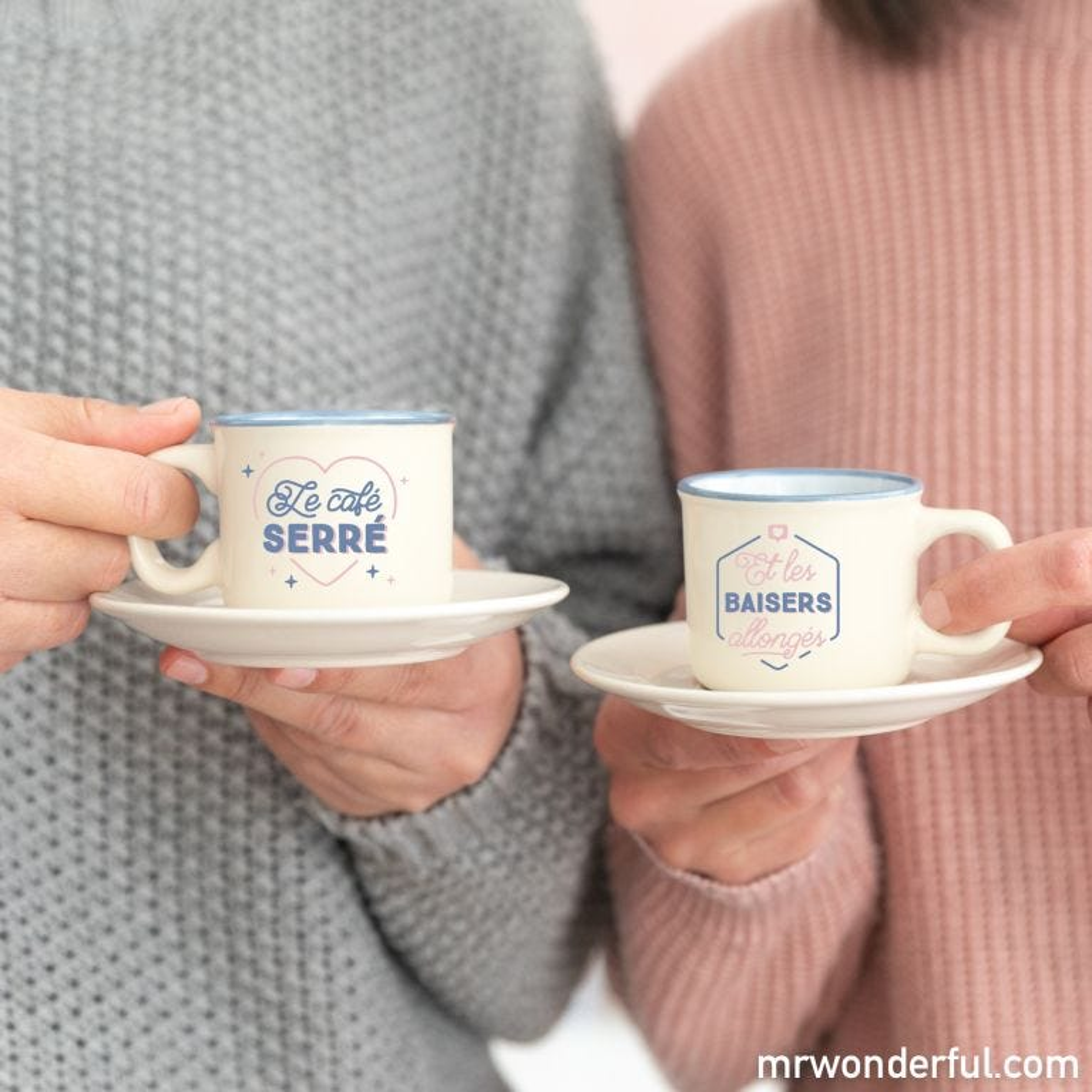 Set de 2 tasses expresso - Le café serré, les baisers allongés