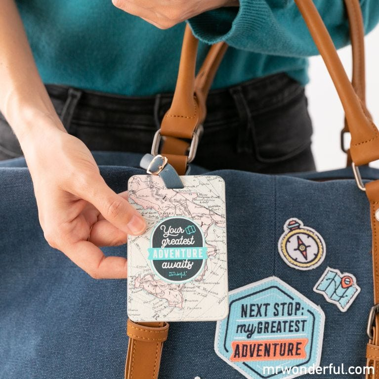 Luggage label - Your greatest adventure awaits