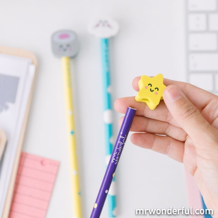 Pencil set with character topper erasers