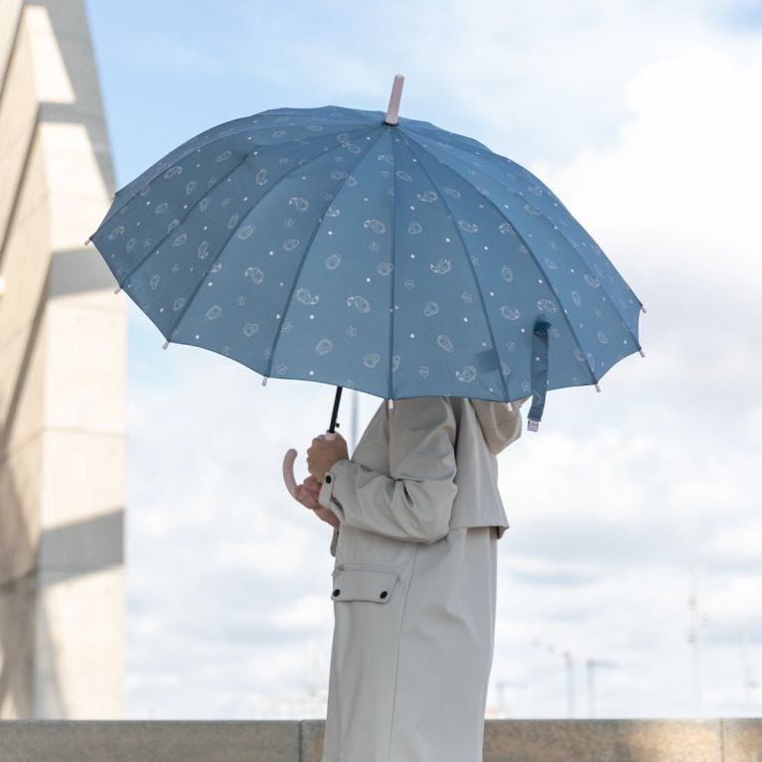 Guarda-chuva grande azul - Estampado de abacates
