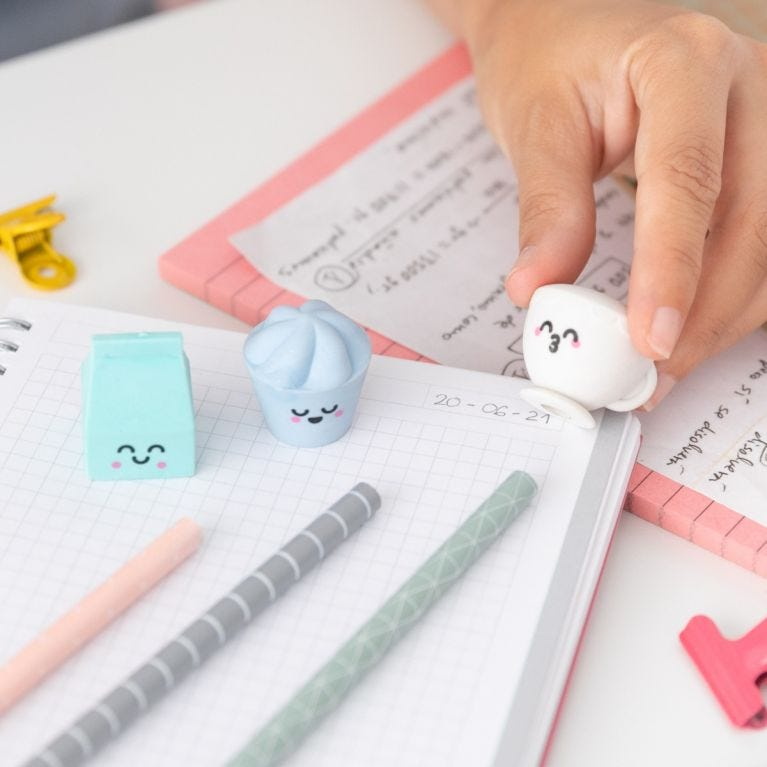 Pencils with erasers - Milk, cup and ice cream
