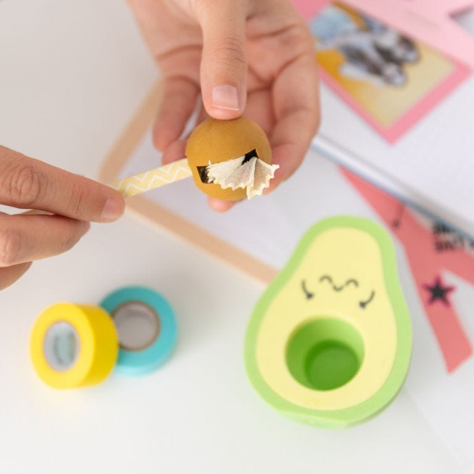 Set of eraser + pencil sharpener - Avocado