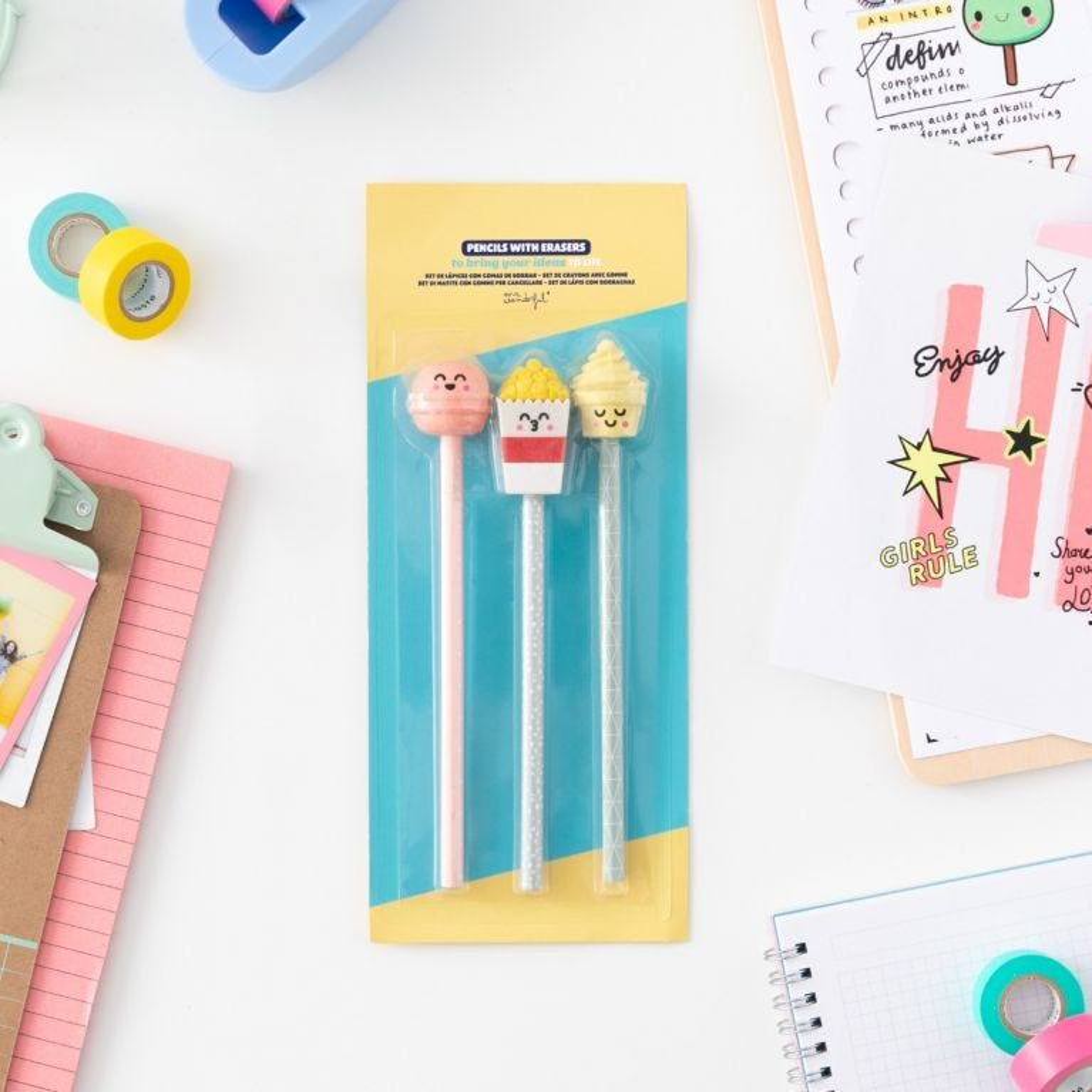 Pencils with erasers - Macaron, popcorn and ice cream