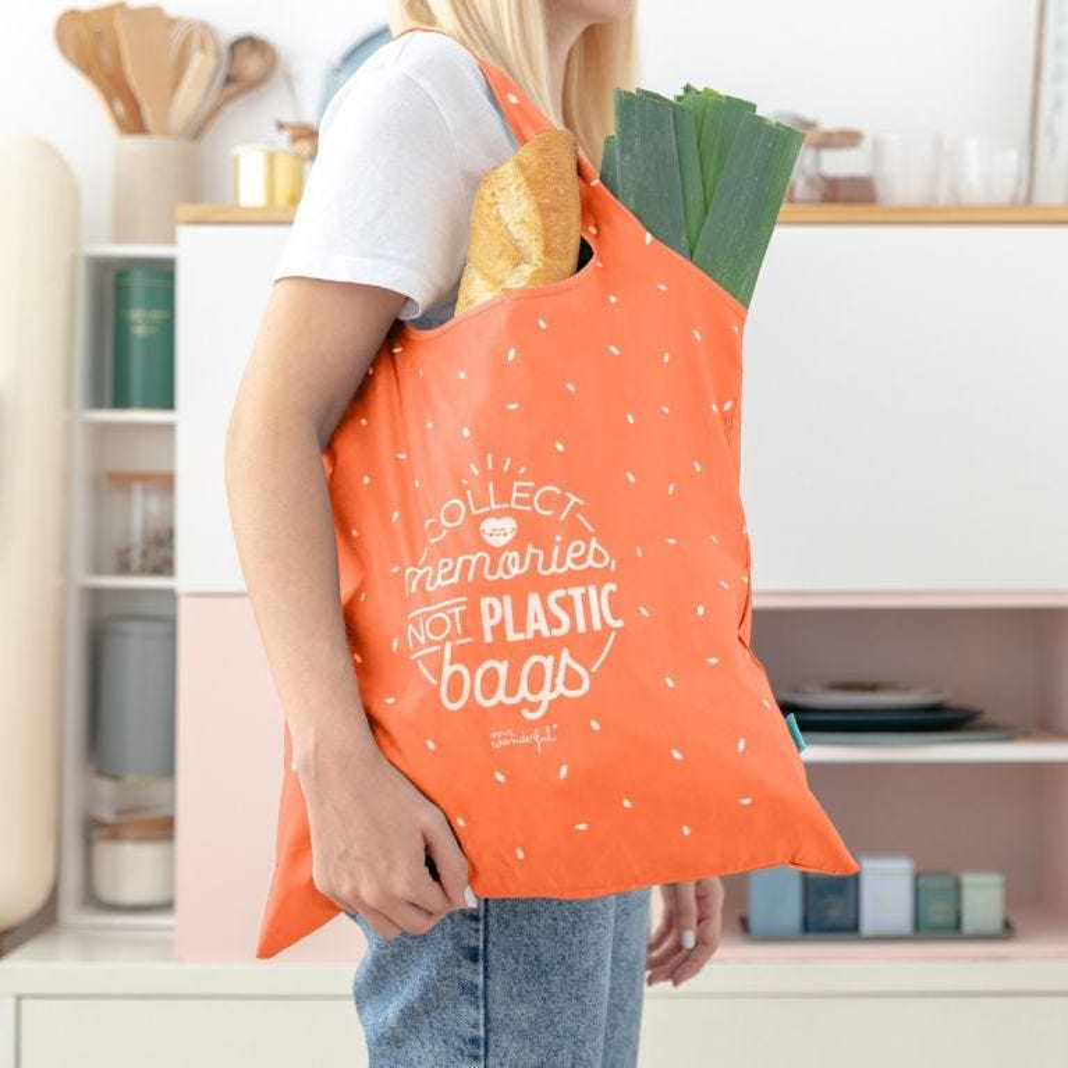 Borsa della spesa pieghevole arancione - Collect memories, not plastic bags