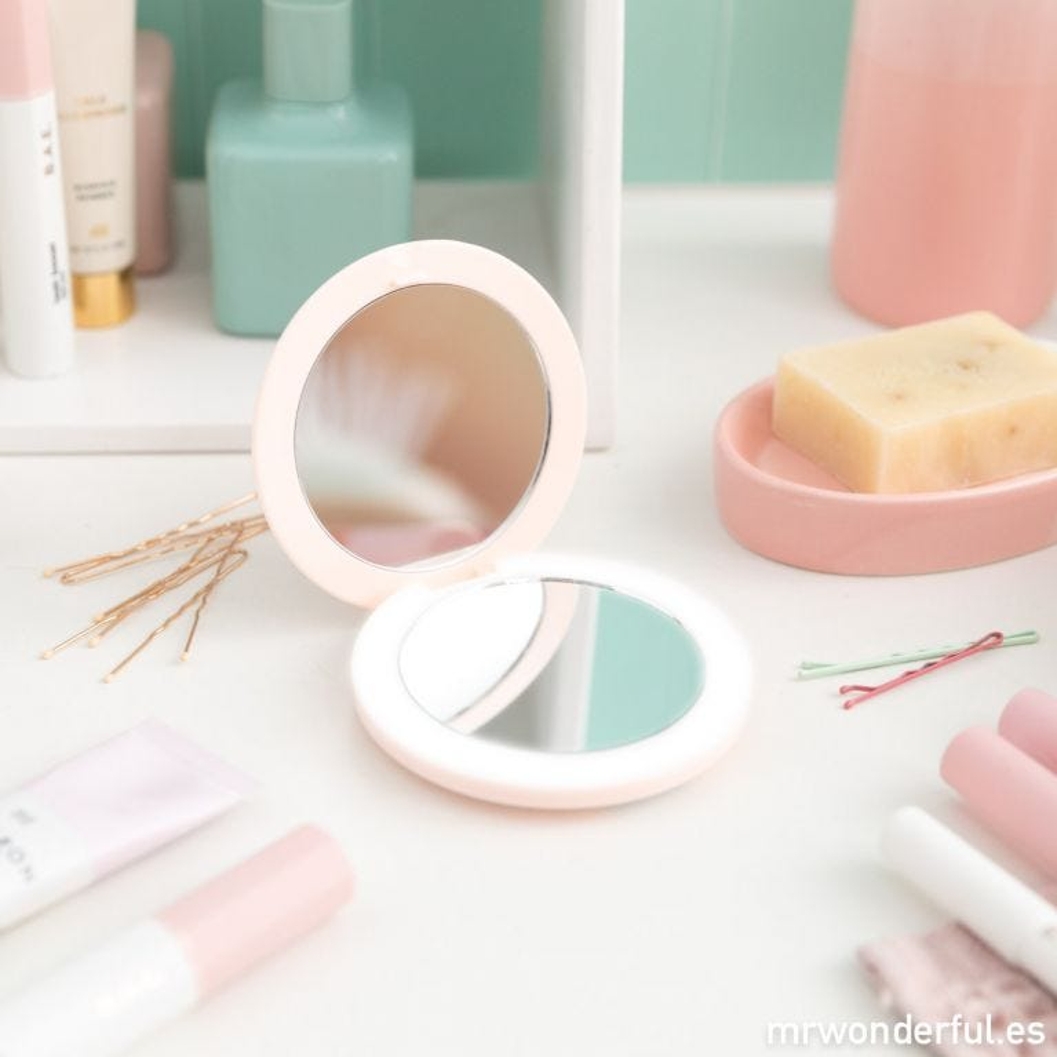Espejo de bolso rosa - ¡Olé yo y mi cara bonita!