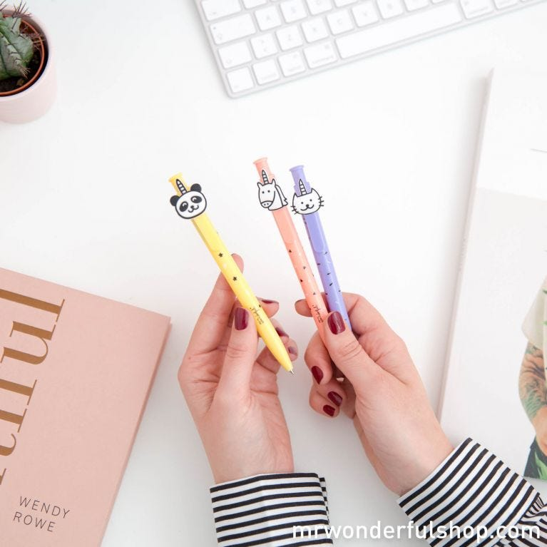 Pack of pens with shapes