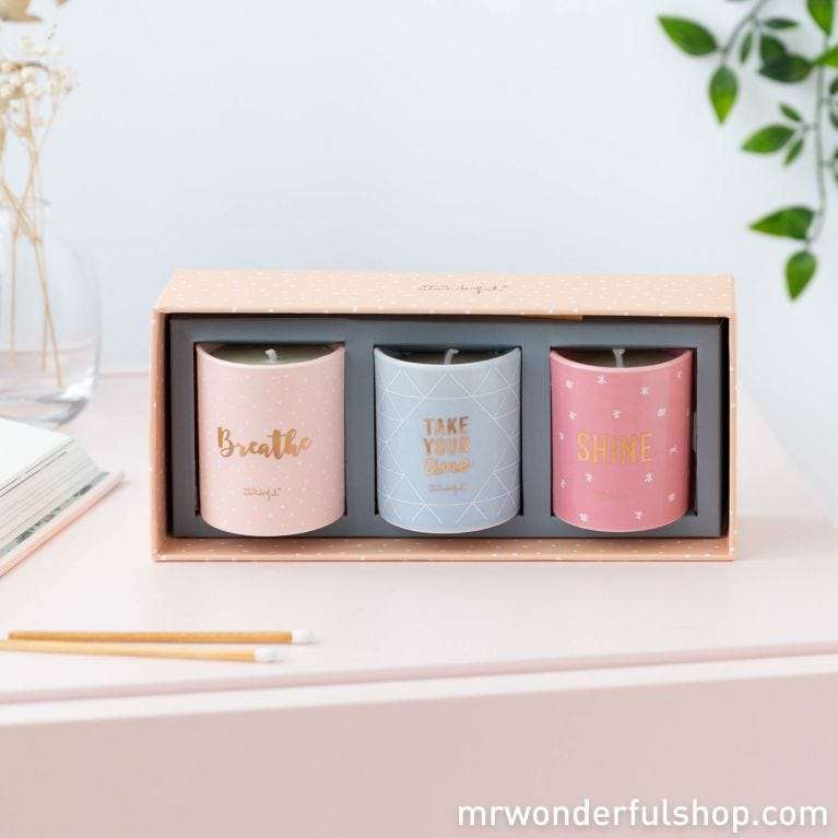 Set of 3 candles - Breathe, take your time and... shine! (ENG)