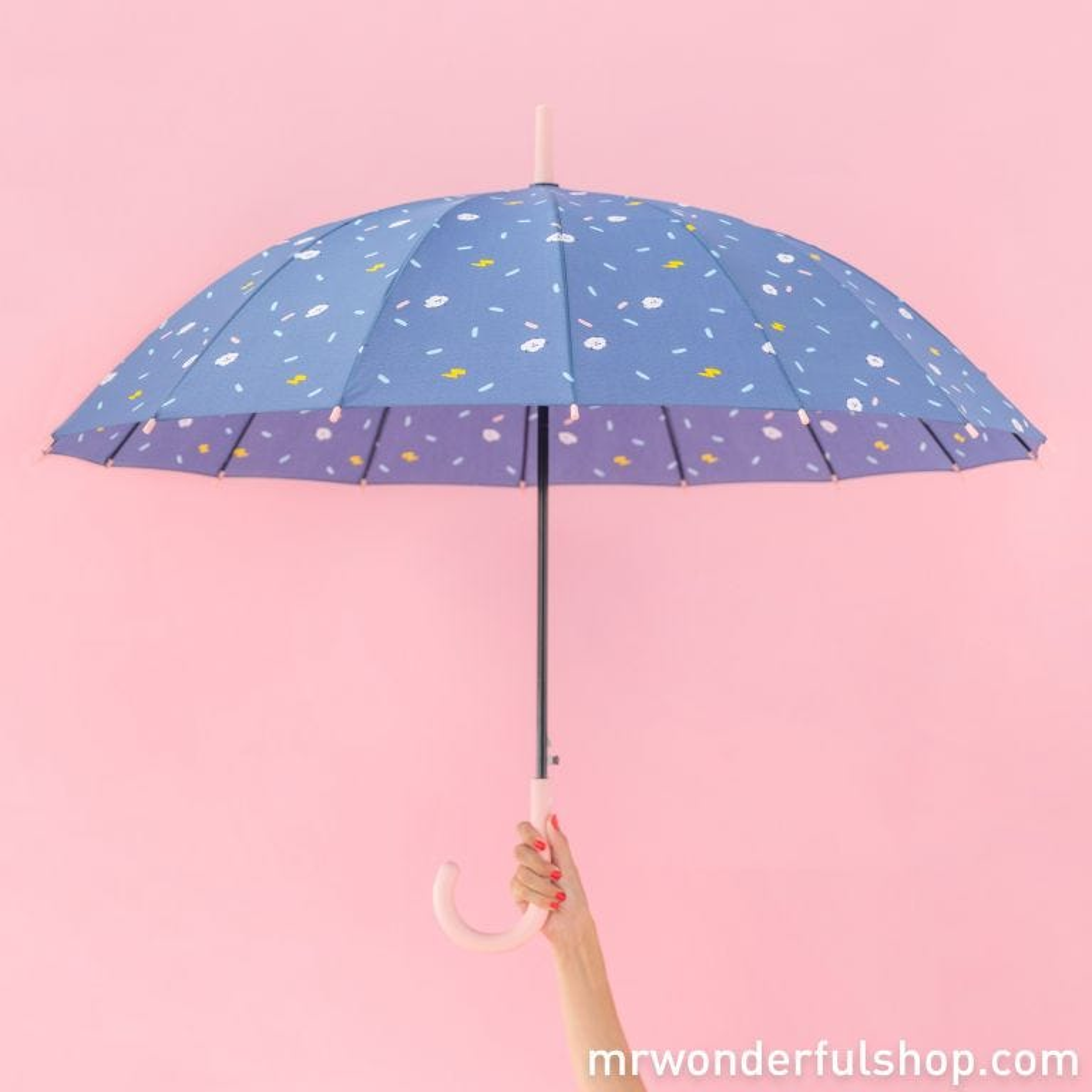 Large-sized umbrella purple colour - Clouds pattern