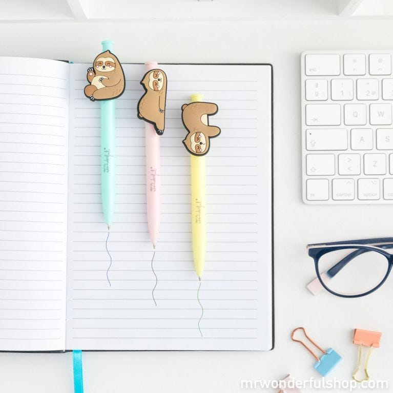 Pack of 3 pens sloths Slow Collection - Good ideas take time