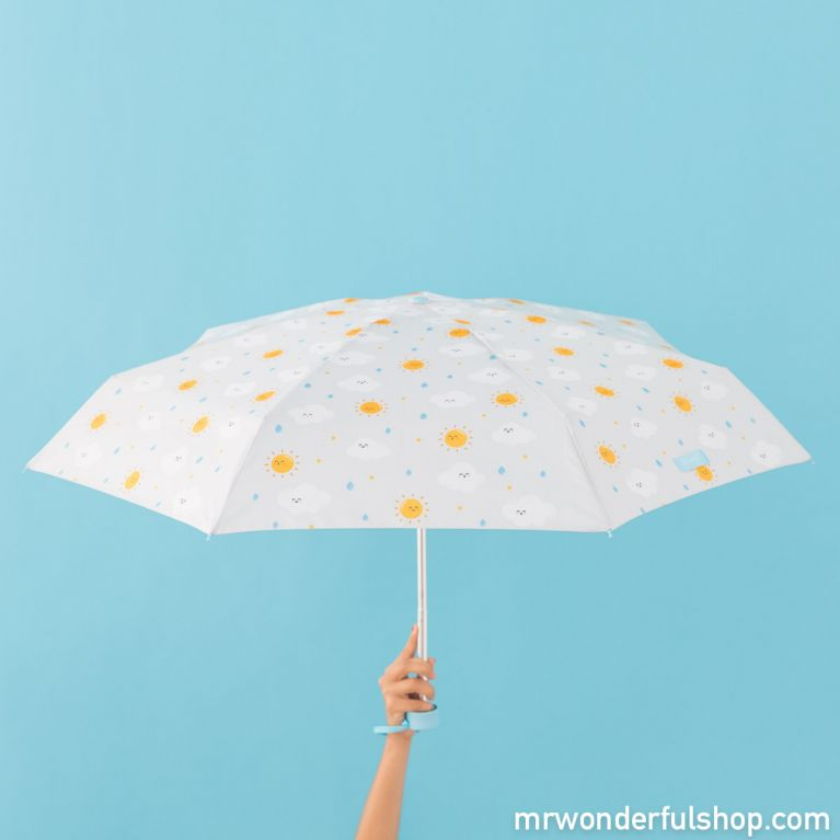 Small-sized umbrella grey with a cloud pattern